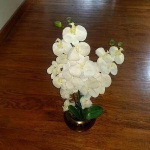 Pier One faux flower in a beautiful brass vase